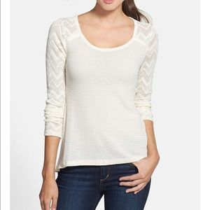 Lucky Brand Ginny Lace & Thermal Knit Tee Size XL